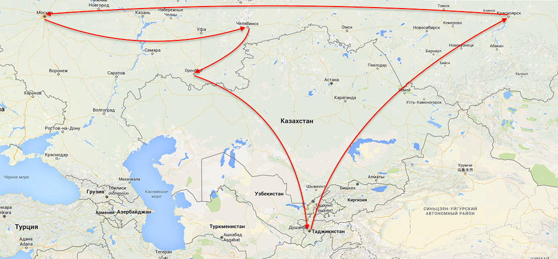Как доехать из красноярска до оренбурга