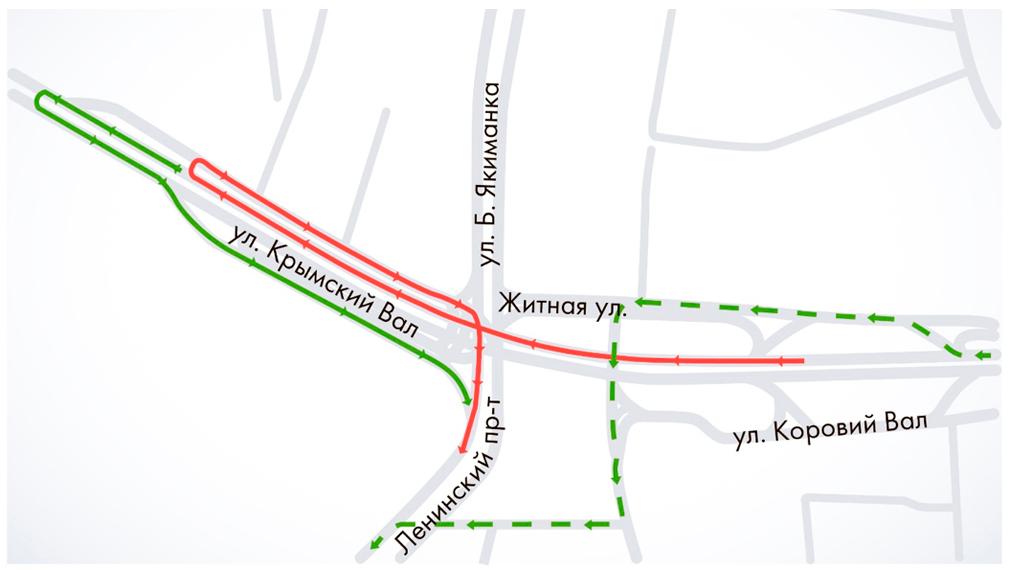 Очень неудобный съезд с Садового кольца на Ленинский проспект закрыли