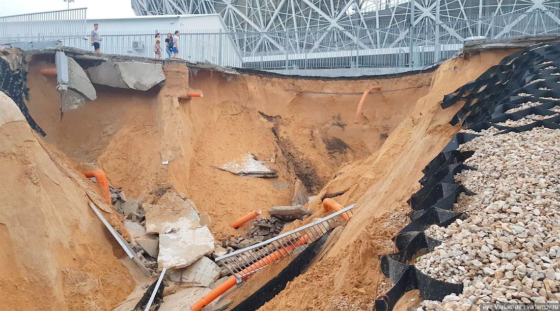 ЧМ-2018 закончился, и всё развалилось будет, смыло, Волгограде, бывает, гдето, Волгоград, назад, построенные, смывает, первый, технологии, стадион, нагрузки, экономь, воруй, Человеку, сроки, заебись, получается, проект