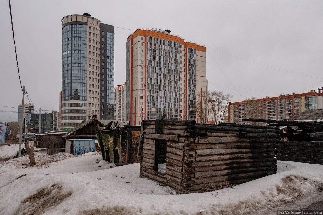 Томск: многоэтажки, разваленный трамвай и сгнившее деревянное зодчество